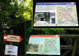 Cartelli illustrativi per visitare la Percorsi di visita della cascata delle marmore