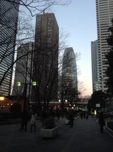 Tokyo, i grattacieli di Shinjuko al tramonto