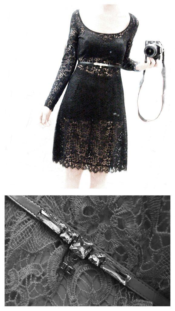 """Outif """"Cena Romantica"""": Tubino nero manica lunga in pizzo con sottoveste due pezzi presumo in jersey nero (Top sagomato+culotte vita alta) abbellito con cintola gioiello in vita. FIrmato Elisabetta Franchi"""