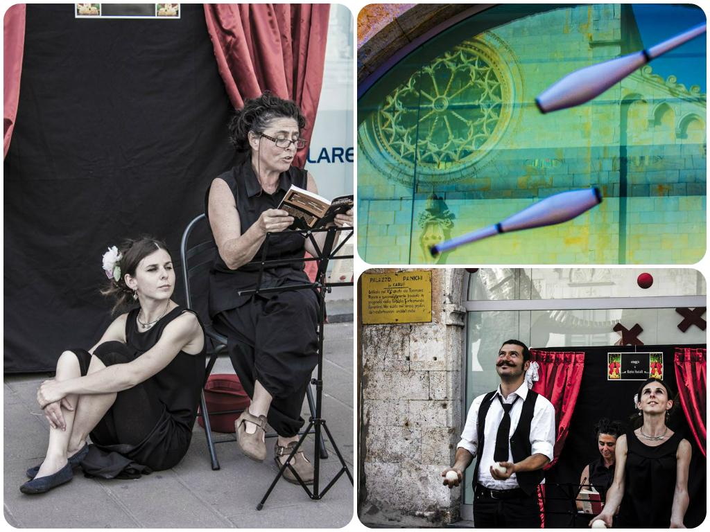 Lettore e artisti di strada