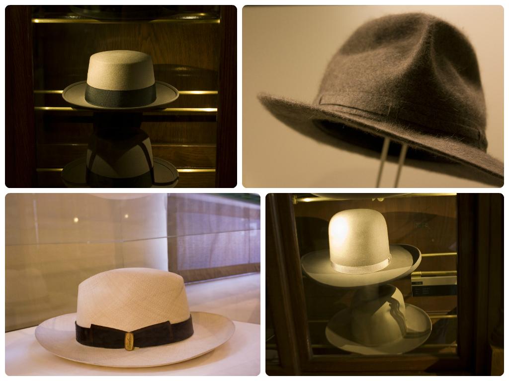 Cappelli vari tra cui il Mambo -alto a sinistra- e Il Panama -basso a sinistra-