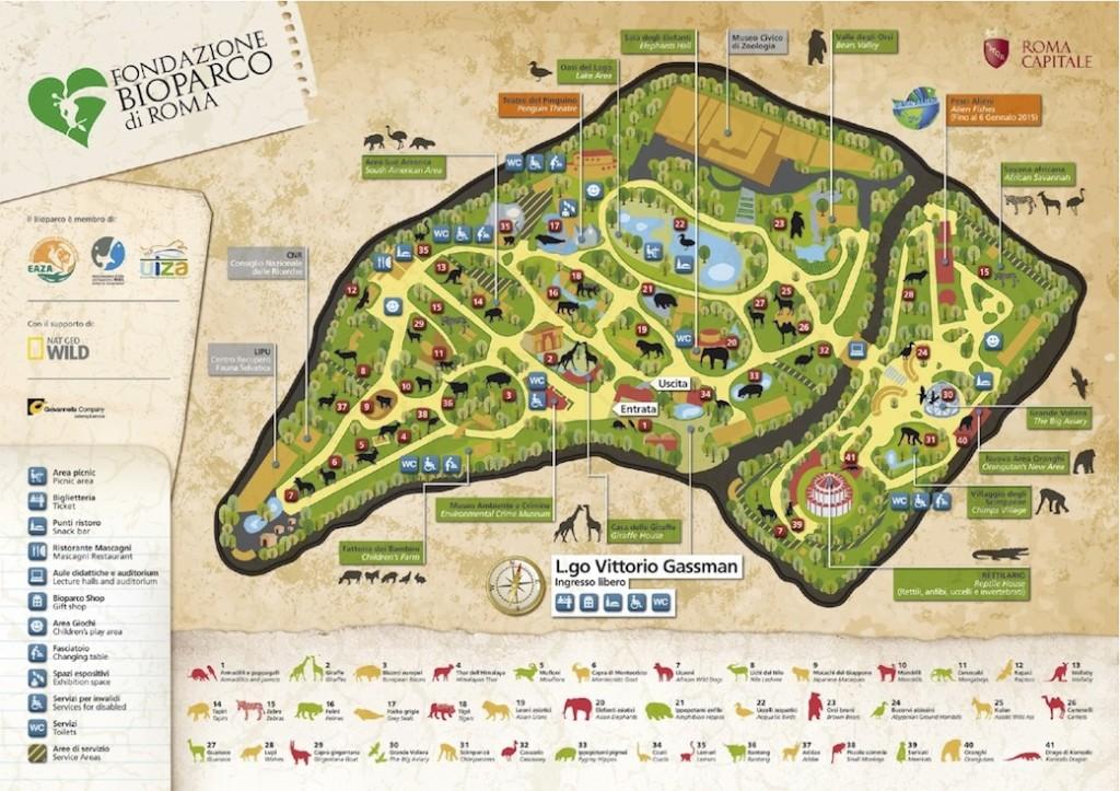 Mappa dello zoo di Roma - credit www.bioparco.it