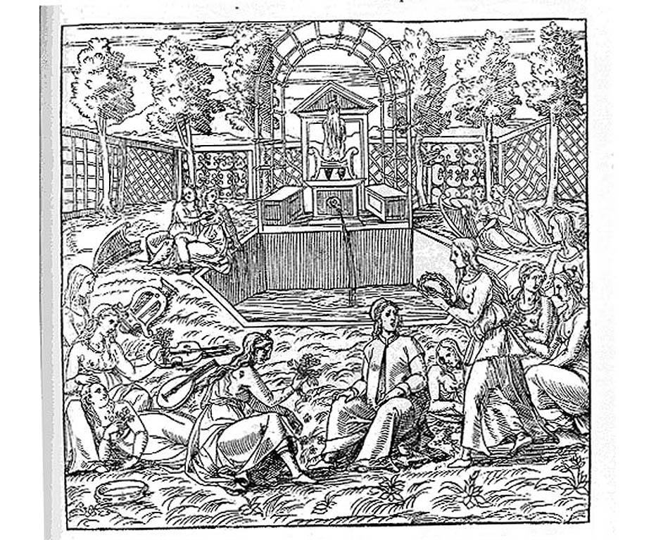 Un giardino all'italiana raffigurato nella Hypnerotomachia Poliphili, testo del XV secolo
