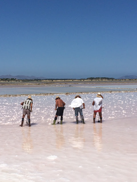 raccoglitori di sale alle saline di trapani