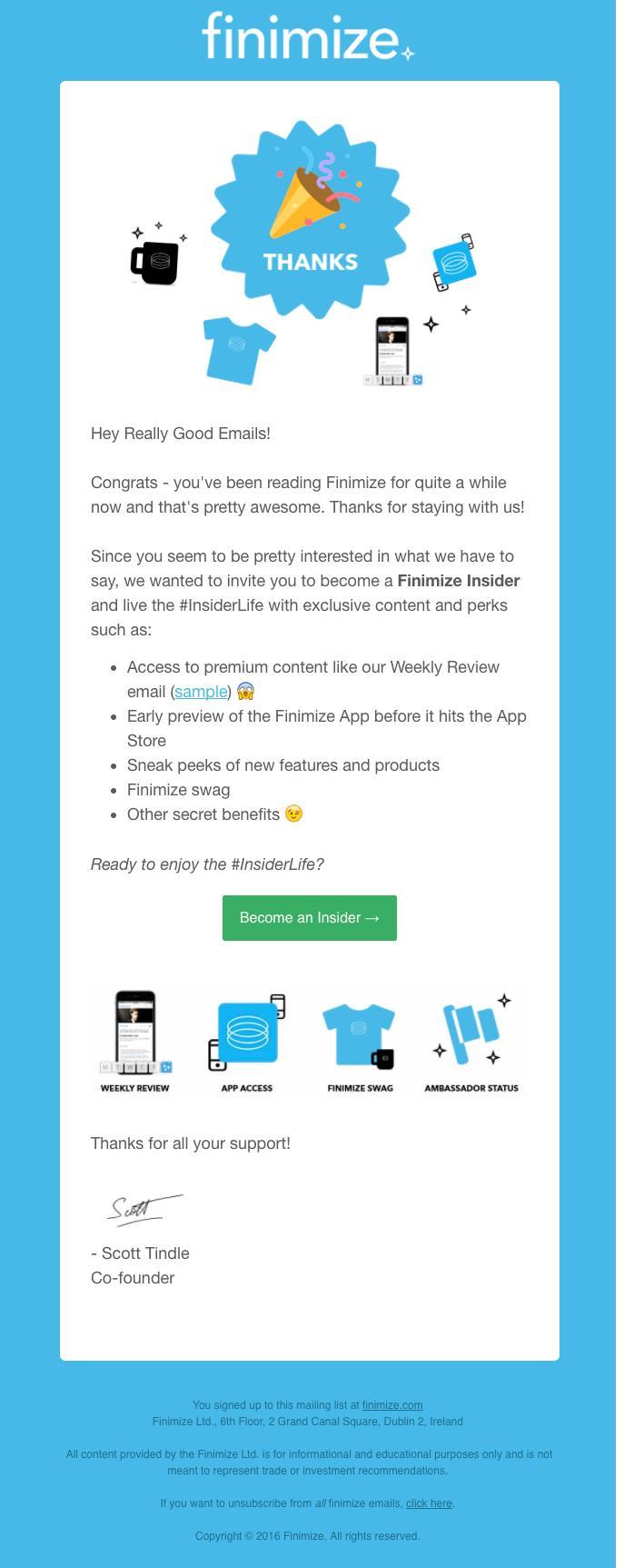 esempio di email di ringraziamento