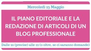 webinar il piano editoriale e la redazione di articoli di un blog professionale