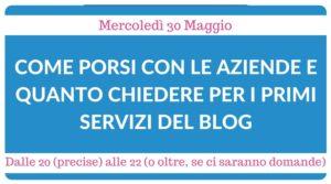webinar come porsi con le aziende e qanto chiedere per i primi servizi di un blog