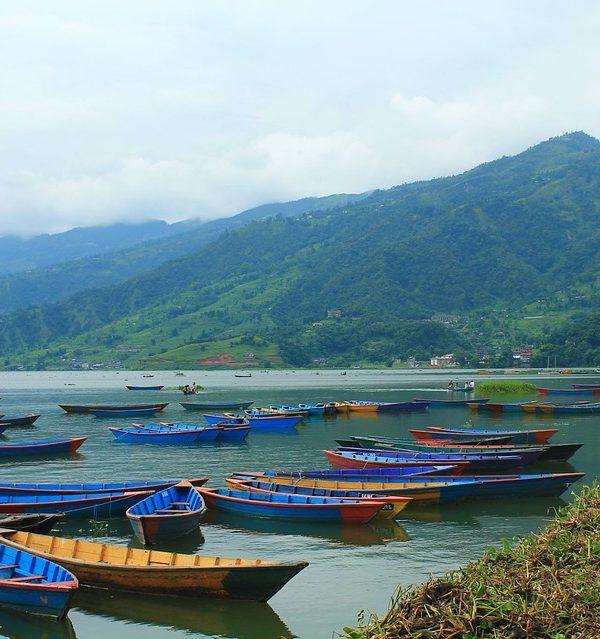 Nepali Nepal Pokhara Boats Colorful Boats
