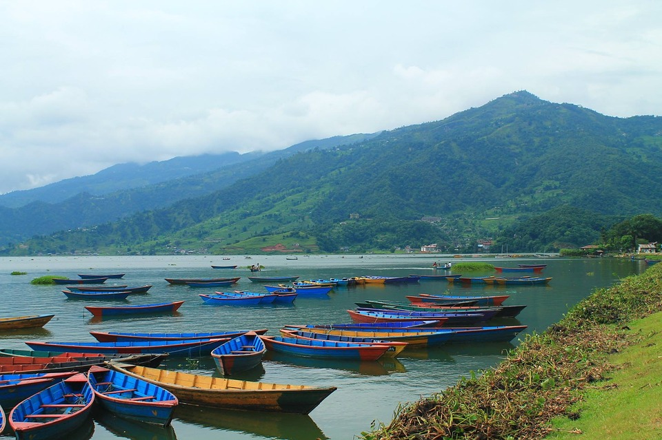 Nepali Nepal Pokhara Boats Colorful Boats